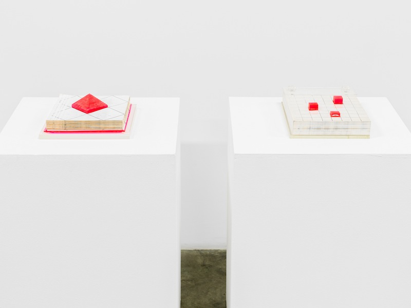 Barbara T Smith Pyramid and Memo Pad Xerox sculptures Installation View  2013