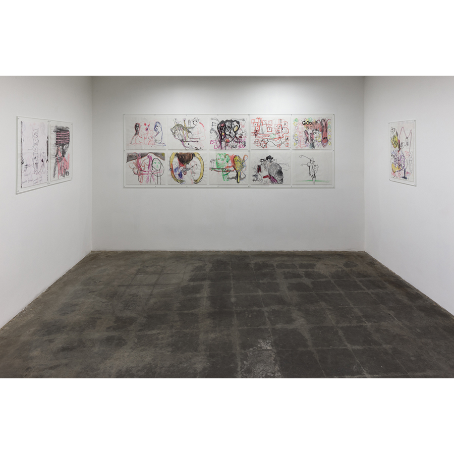 Men in LA: Three Generations of Drawings Installation View  Collaborative Drawings Naotaka Hiro, Paul McCarthy, Benjamin Weissman 2014 Photo: Fredrik Nilsen