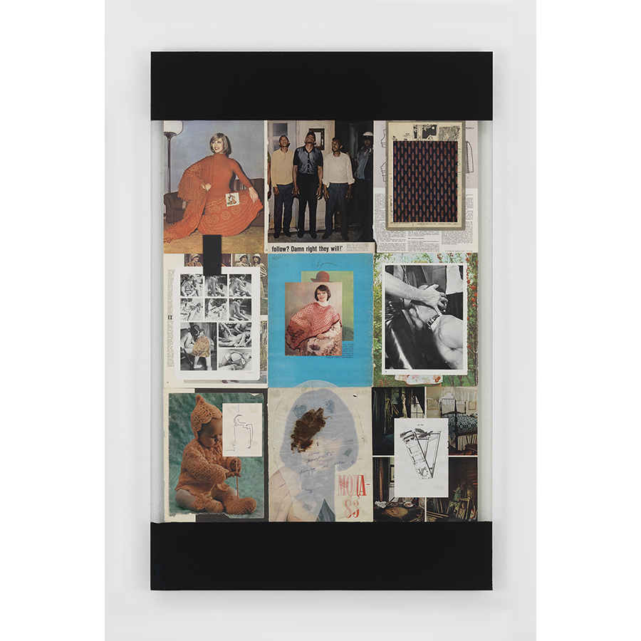 "Leigh Ledare Stalemate, 2017 One of three panels (52"" x 33"" x 1.5"" each) Mixed media: assorted print ephemera; glass sheets; stains with either foie gras, excrement or liquid soap; ink drawings; plastic bag; enamel paint; black primer, adhesive, silicone caulk, wood strainer."