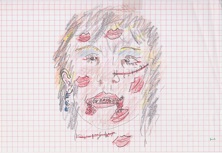 Pierre Guyotat, Untitled, Pen and colored pencil on graph paper, 7.25 x 9.75 in., 18.4 x 24.8 cm.